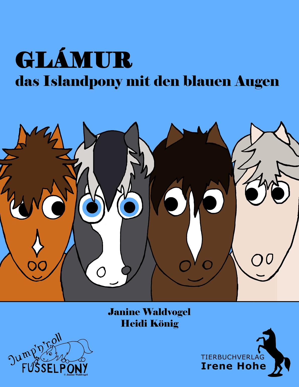 """cover des buches """"glamur - das islandpony mit den blauen augen"""". zu sehen sind 4 ponys."""