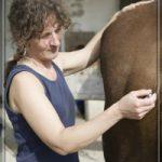 sybille moser mit akupunkturnadel am gesäss eines pferdes